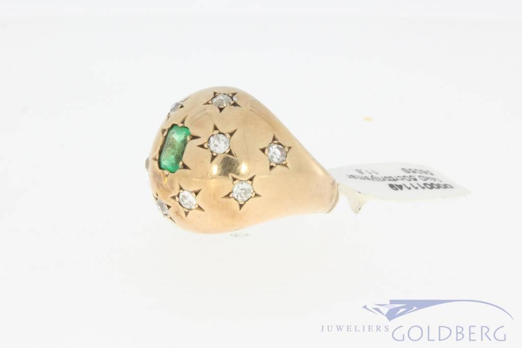 Robust vintage 14 carat gold ring with emerald and approx. 0.50ct brilliant cut diamond