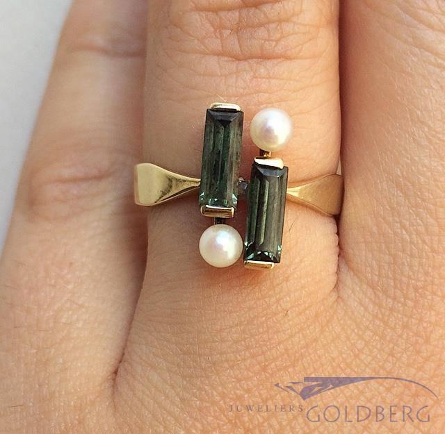 Vintage 14k gouden ring met parel en toermalijn