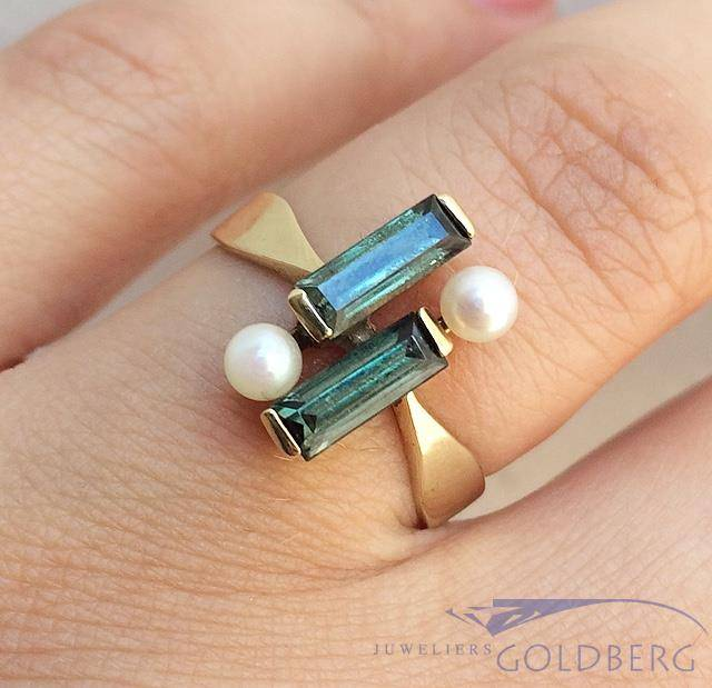 Unique 14 carat gold vintage ring with pearl and tourmaline