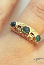 Vintage 14 carat gold ring with cabochon cut emerald