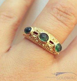 Vintage 14k gouden ring met cabochon geslepen smaragd