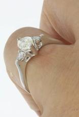 18k witgouden ring met ca. 1.25ct markies & briljant geslepen diamant