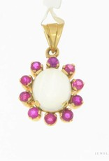 Vintage 18 carat gold pendant with ruby and moonstone