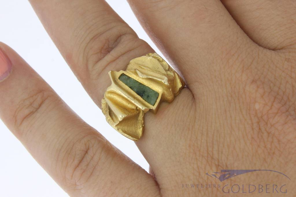 Robust vintage 18 carat gold Lapponia ring with moss agate