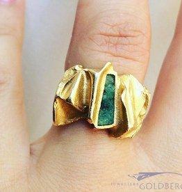 Robuuste vintage 18k gouden Lapponia ring met mosagaat