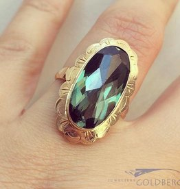 Vintage 14k gouden ring met grote toermalijn