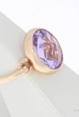 18k rosé gouden design ring met facet geslepen amethist