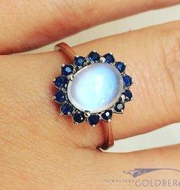 Vintage 14k gouden rozet ring  met maansteen en blauwe saffier