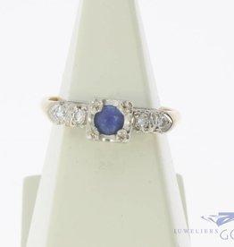 Vintage 14k gouden bicolor ring met blauwe saffier en ca. 0.04ct diamant