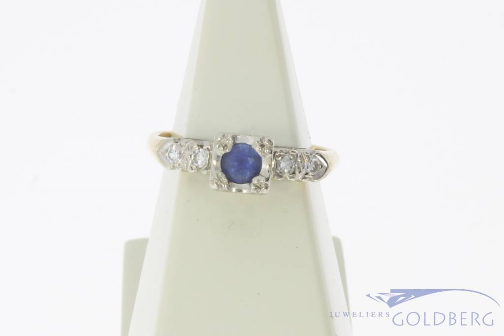 Vintage 14 carat gold bicolor ring with blue sapphire and approx. 0.04ct diamond