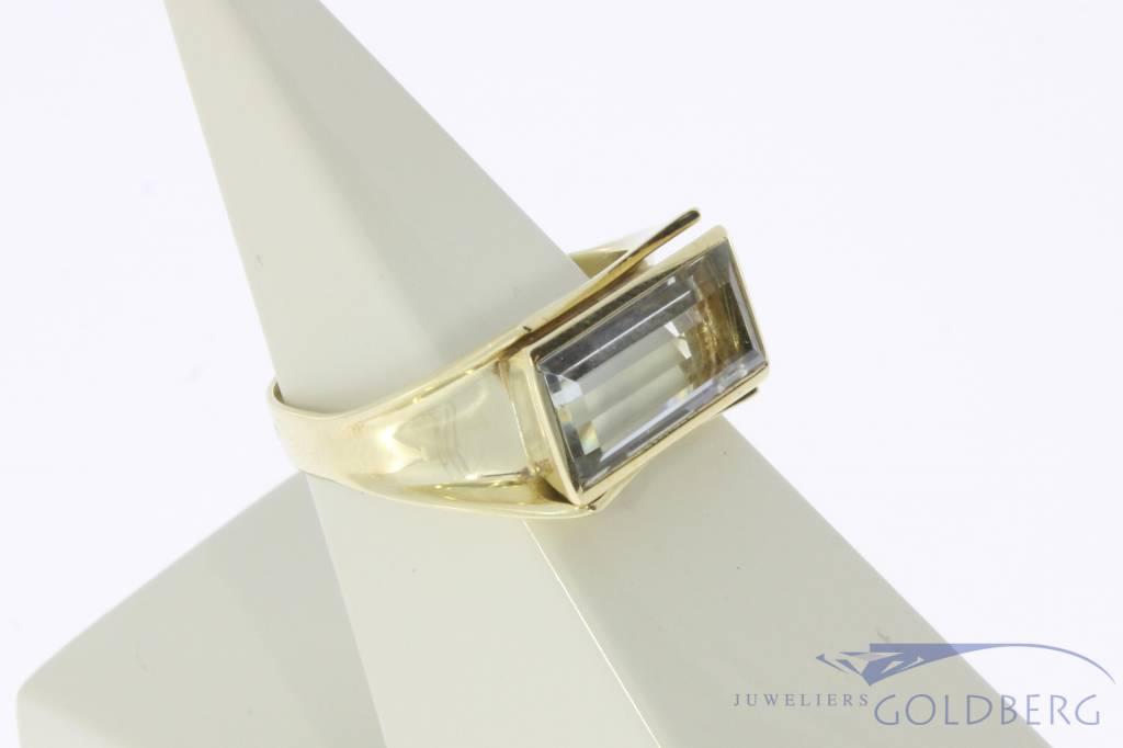 Vintage 14 carat gold unisex ring with rectangular aquamarine
