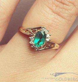 Vintage 14k gouden rozet ring met synthetische smaragd en ca. 0.08ct briljant geslepen diamant