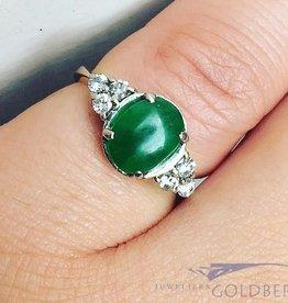 Vintage 18k bicolor ring met Chrysopraas en ca. 0.23ct briljant geslepen diamant