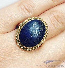 Vintage 18k gouden ring met grote Lapis Lazuli