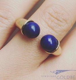 Robuuste vintage 14k gouden ring met Lapis Lazuli