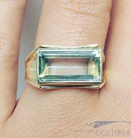 Vintage 14k gouden unisex ring met rechthoekige aquamarijn