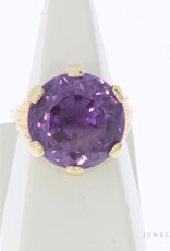 Vintage 18 carat gold ring with large amethyst