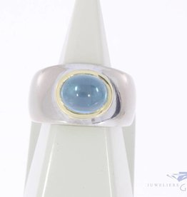 Robuuste vintage 18k bicolor gouden unisex ring met topaas