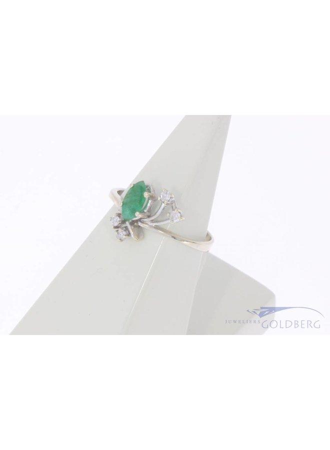 Vintage 18k witgouden ring met smaragd en diamant