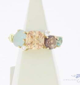 Vintage 14 carat gold Blush ring with colored zirconia