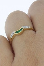 Vintage 18 carat gold fantasy alliance ring with synthetic emerald and zirconia