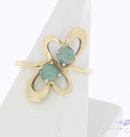 Vintage 18k gouden ring met jadeiet