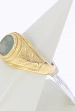 Robuuste vintage 20k gouden ring met jade