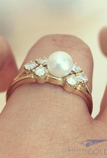 Vintage 14 carat gold ring with pearl and approx. 0.42ct brilliant cut diamond