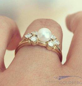 Vintage 14k gouden ring met parel en ca. 0.42ct briljant geslepen diamant