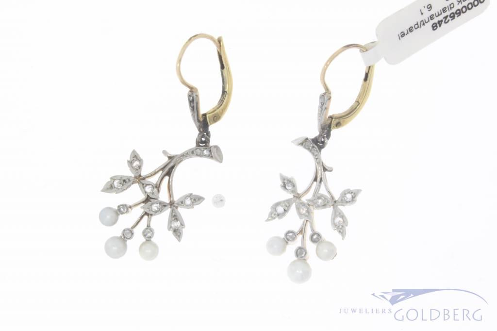 Antieke 14k gouden & platina oorhangers met parel en roos geslepen diamant