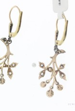 Antique 14 carat gold & platinum earrings with pearl and rose cut diamond