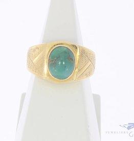 Vintage 20k gouden ring met turkoois