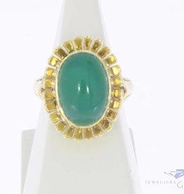 Vintage 14k gouden bloemvormige ring met Chrysopraas