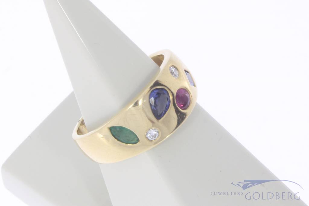 Vintage 18 carat gold ring with ruby, emerald, blue sapphire and approx. 0.08ct brilliant cut diamond
