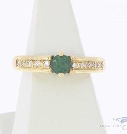 Vintage 18k gouden ring met smaragd en diamant
