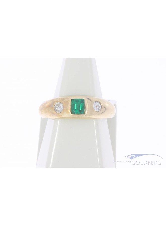 Vintage 14k gouden unisex ring met synthetische smaragd en ca. 0.20ct briljant geslepen diamant