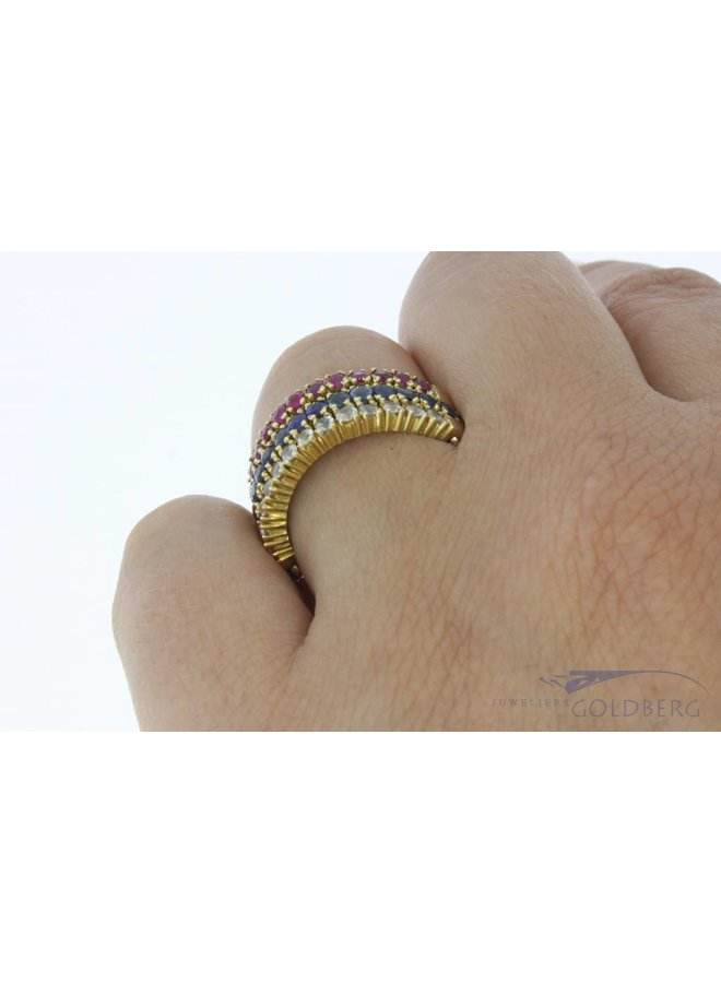 Vintage 14k gouden multi alliance ring met robijn, smaragd, saffier en zirconia