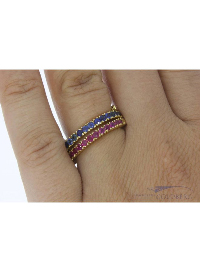 Vintage 14 carat gold multi alliance ring with ruby, emerald, blue sapphire and cubic zirconia