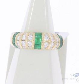 Vintage 18k gouden ring met smaragd en ca. 0.50ct briljant geslepen diamant