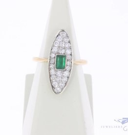 Vintage 14 carat gold ring with emerald and approx. 0.40ct diamond