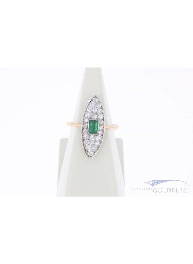 Vintage 14k gouden ring met smaragd en ca. 0.40ct diamant