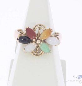 Vintage 14k gouden ring met diverse edelstenen
