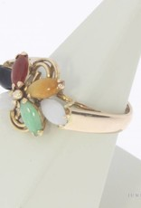 Vintage 14 carat gold ring with various gems