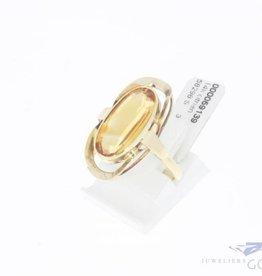 Vintage 14k ovale gouden ring met citrien