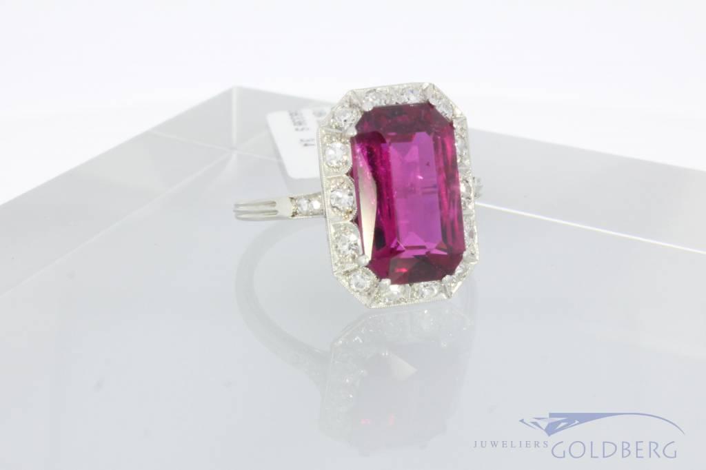 18k witgouden ring met diamant en toermalijn