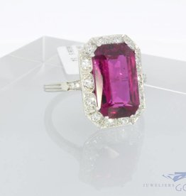 18 carat white gold ring with diamond and tourmaline