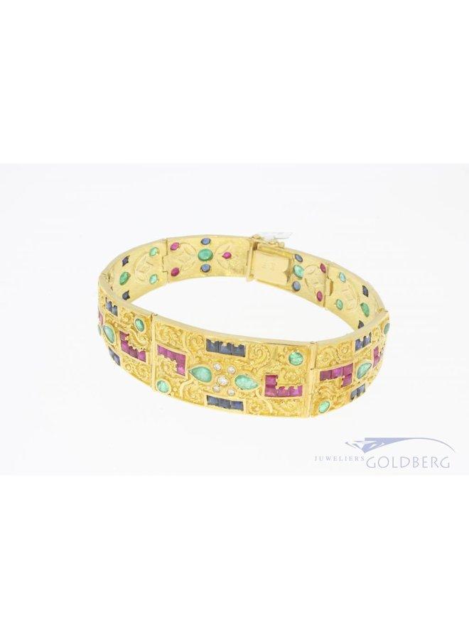Heavy 18k bracelet with various gemstones