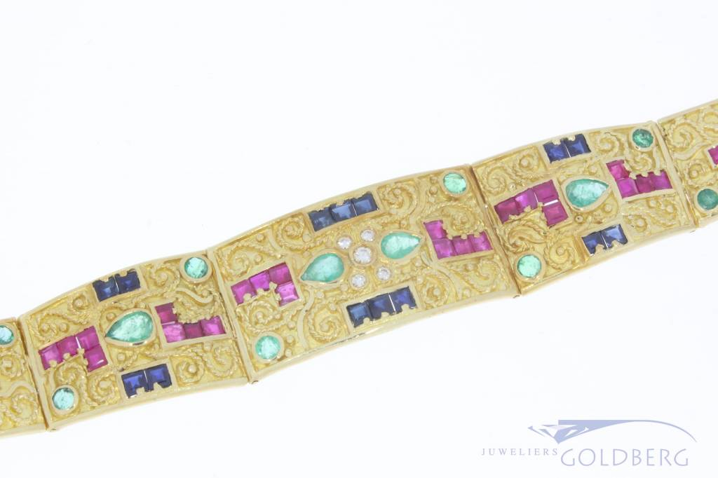 Zware 18k gouden armband met diverse edelstenen