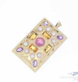 14k gold brooch/pendant with gemstones