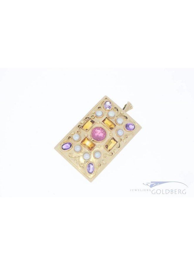 14k gold brooch/pendant with various gemstones